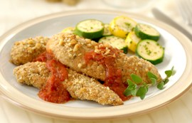 Walnut Chicken Strips with Spicy Marinara