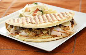 Grilled Turkey Chalupa with Roasted Onion, Mushroom and Swiss