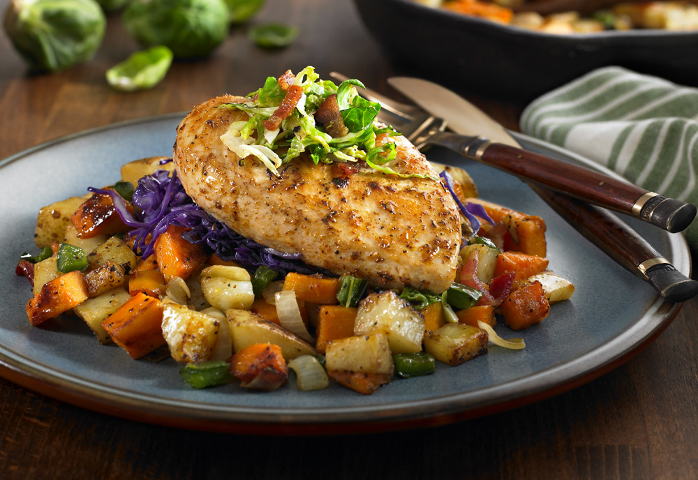 Chicken Breast with Sweet Potato and Brussels Sprout Hash