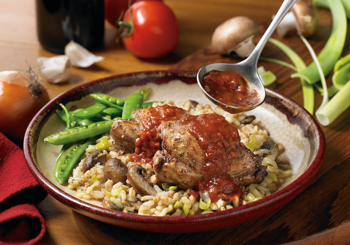 HARVESTLAND® Chicken Thighs Burgundy Braised with Herbed Farro